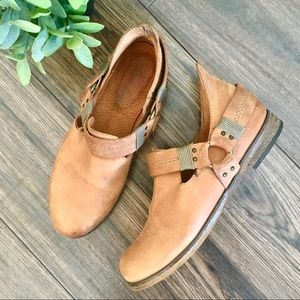 Free People Tan Leather Buckle Boho Ankle Boots